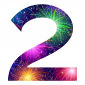 Number of colorful firework, two — Vector de stock