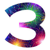 Number of colorful firework, three — Vector de stock