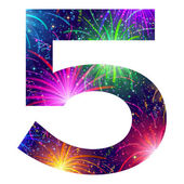 Number of colorful firework, five — Vector de stock