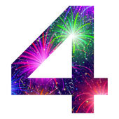 Number of colorful firework, four — Vector de stock