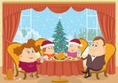 Family at home celebrating Christmas — Stockvektor