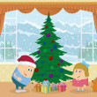 Children finding gifts under fir tree — Stock Photo #56239587