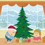 Children finding gifts under fir tree — Stock Photo #56239587