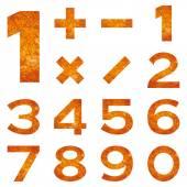 Numbers set, orange lava — Stock Photo