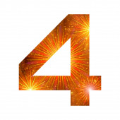 Number of orange firework, four — Stock Photo