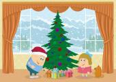Children finding gifts under fir tree — Stock Photo