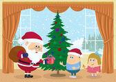 Santa Claus giving presents — Stock Photo