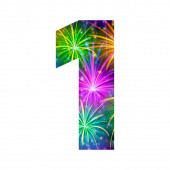 Number of colorful firework, one — Stock Photo