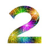 Number of colorful firework, two — Stock Photo