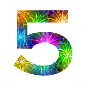 Number of colorful firework, five — Stock Photo