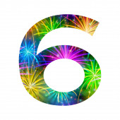Number of colorful firework, six — Stock Photo