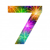 Number of colorful firework, seven — Stock Photo