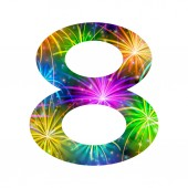 Number of colorful firework, eight — Stock Photo