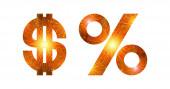 Zestaw znaków, Dolar i procent, pokaz sztucznych ogni — Zdjęcie stockowe
