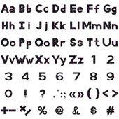 Alfabeto, números e sinais, serpentinas — Vetor de Stock