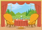 Room with view of forest glade — Stock Vector