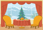 Room with Christmas tree in window — Stock Photo
