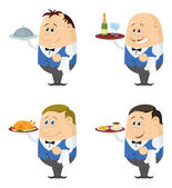 Waiters with trays set — Stock Vector