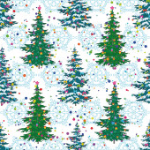Seamless pattern, Christmas trees and snowflakes — Foto de Stock
