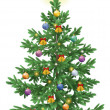 Постер, плакат: Christmas spruce fir tree with ornaments