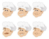 Set cartoon heads chef in a toque caps — Stock Vector