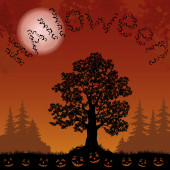 Halloween landscape with bats, trees and pumpkins — Stock Photo