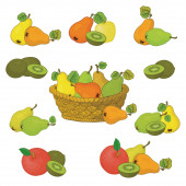Wicker basket and fruits set — Stock Photo