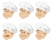 Set cartoon heads chef in a toque caps — Stock Photo