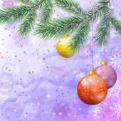 圣诞节背景用树枝和球 — 图库照片