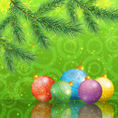 Christmas background with branches and balls — Stock Vector
