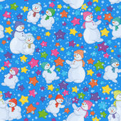 Бесшовный фон Рождество с снеговики — Cтоковый вектор