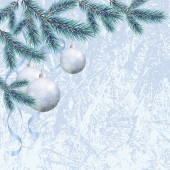 Christmas background with branches and balls — Stock Photo