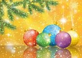Christmas background with branches and balls — Vetorial Stock