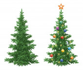 Christmas spruce fir trees with ornaments — Stock Photo