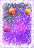 Christmas background with branches and balls — Zdjęcie stockowe