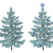 Постер, плакат: Christmas spruce fir trees with ornaments