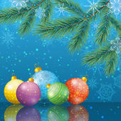 Christmas background with branches and balls — ストックベクタ
