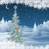 Winter landscape with Christmas tree — Stock vektor