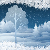 Winter Christmas landscape with tree — 图库矢量图片