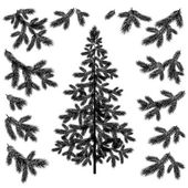 Christmas tree and branches silhouettes — Stock Vector