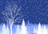 Winter Christmas landscape with tree — Wektor stockowy