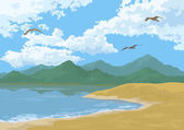 Sea Landscape with Mountains and Birds — Stock Vector