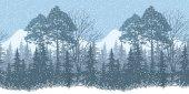 Seamless Winter Woodland Landscape — Stock Photo