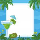 Juice, Kiwi Fruit and Exotic Background — Stock Vector