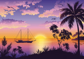 Tropical Sea Landscape with Palms and Ship — Stock Photo