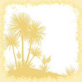 Palms, Flowers and Frame of Blots Silhouettes — Stock Vector
