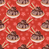 Seamless, Ice Cream and Floral Pattern — Stock Photo