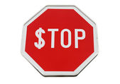 Finance concept with USD and stop label on road sign isolated on white — Stock Photo