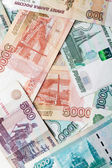 Russian money background. Rubles banknotes close-up photo texture — Stock Photo
