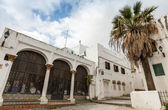 Tangier, Morocco. Old Medina street view with palm tree — Stock Photo